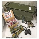 Military Ammo Box with Flashlights, Binoculars, and Box of Shot Lock Trigger Locks