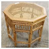 "Rattan ""Thomasville Furniture"" Cane Top Octagon Occasional Table"