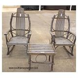 ANTIQUE 3 Piece Adirondack Pair of Rockers and Table