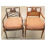 PAIR of Mahogany Frame Carved Arm Chairs