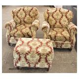 "3 Piece ""Harden Furniture"" Upholstered Club Chairs with Ottoman"