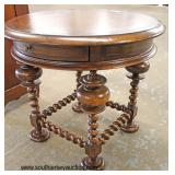 "Oak ""European Crossroads by John Richard"" Leather Top Barley Twist Carved One Drawer Round Stand"
