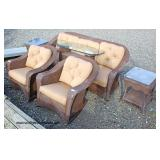 Like New 5 Piece Brown Wicker Sofa, 2 Chair and 2 Glass Top Tables
