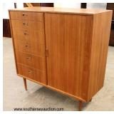 Mid Century Modern Danish Walnut 6 Drawer 1 Door Gentlemen's Chest with Fitted Interior  Auction Est