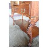 ANTIQUE OAK Carved 4 Drawer Paw Foot Server with Backsplash with Griffins  Auction Estimate $200-$40