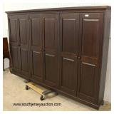 Oak Custom Made 6 Door Panel Front Collectors Cabinet with all Glass Shelves  Auction Estimate $200-