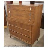 "Mid Century Modern ""New York Exhibit Corp.""  Danish Walnut 2 over 3 Drawers Step Back 6 Drawer Chest"