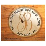 "PAIR of ""Bethlehem Furniture Mfg. Corp. Red Lion, PA.""  Oval One Satinwood One Door 1 Drawer Bedside"