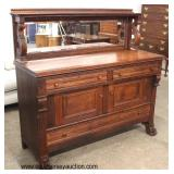 ANTIQUE Oak Paw Foot Carved Buffet with Mirrored Backsplash  Auction Estimate $200-$400 – Located In