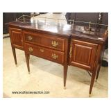 Mahogany Taper Leg 2 Door 2 Drawer Banded and Inlaid Buffet with Brass Gallery  Auction Estimate $20
