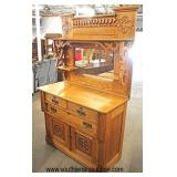 ANTIQUE Oak Carved Buffet with Mirror and Gallery Top  Auction Estimate $200-$400 – Located Inside