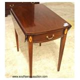 "Mahogany ""Hickory Chair Company"" Inlaid Drop Side One Drawer Pembroke Table  Auction Estimate $100-$"