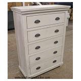NEW White Contemporary 5 Drawer High Chest  Auction Estimate $200-$400 – Located Inside