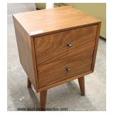 NEW Mid Century Modern Design Contemporary Danish Walnut 2 Drawer Night Stand  Auction Estimate $10