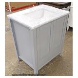 "NEW 30"" Grey 2 Door 1 Drawer Marble Top Bathroom Vanity with Hardware and Mirror (not shown)  Aucti"