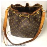 """Louis Vuitton"" Monogram Canvas Draw String Purse with Certificate of Authenticity and Receipt  Auc"