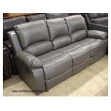 NEW Grey Leather Contemporary Sofa with Tags  Auction Estimate $300-$600 – Located Inside