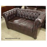 NEW Brown Leather Button Tufted Chesterfield Style Loveseat  Auction Estimate $300-$600 – Located I