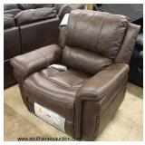 NEW Brown Leather Power Electric Recliner with Tags  Auction Estimate $300-$600 – Located Inside