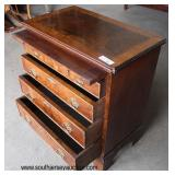 Burl Walnut Inlaid and Banded 4 Drawer Bachelor Chest with Pull Out Tray  Auction Estimate $200-$40