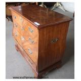 "Burl Mahogany ""Weiman Furniture"" Banded 4 Drawer Bombay Style Bachelor Chest  Auction Estimate $300"