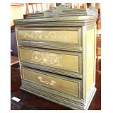 Paint Decorated Victorian Small 3 Drawer Cabinet  Auction Estimate $50-$100 – Located Dock