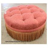 Upholstered Button Tufted Round Decorator Ottoman with Fringe  Auction Estimate $100-$200 – Located