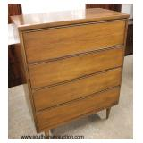 "Mid Century Modern ""Basset Furniture Industries, Inc."" Danish Walnut 4 Drawer High Chest and Low Ch"