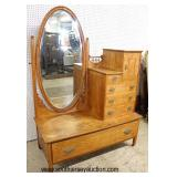 ANTIQUE Birdseye Maple 5 Drawer 1 Door Hotel Dresser with Oval Mirror  Auction Estimate $200-$400 –