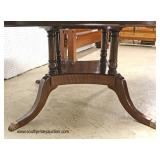 "BEAUTIFUL Burl Mahogany 60"" Inlaid and Banded Round Dining Room Table with Star Inlay Top and Brass"