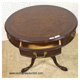 "QUALITY SOLID Mahogany ""Century Furniture"" Leather Top drum Table  Auction Estimate $200-$400 – Loc"