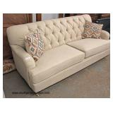 NEW Contemporary Decorator Tweed Upholstered Button Tufted Sofa with Decorative Pillows  Auction Es