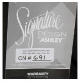 "NEW ""Signature Design by Ashley Furniture"" Grey Upholstered Contemporary Decorator Sofa with Decora"