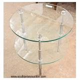 Modern Design Round 2 Tier Glass and Chrome Stand  Auction Estimate $100-$200 – Located Inside