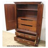 "SOLID Mahogany ""Thomasville Furniture"" Low Chest with Mirror and Armoire with Fitted Interior  Auct"