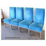 Set of 4 Blue Velour Aluminum Tube Base Mid Century Chairs  Auction Estimate $200-$400 – Located Do
