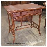 Contemporary rattan Decorator 3 Drawer Writing Desk  Auction Estimate $100-$200 – Located Inside