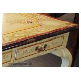 7 Piece Farm Style Paint Decorated country Dining Room Table with 6 Chairs  Auction Estimate $300-$