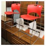 "PAIR of ""SitOnIt Seating, CA, Apex Facility Resource""  Mid Century Style High Top Stools ""On Call"""