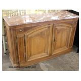 ANTIQUE Mahogany Continental 2 Door French Marble Top Buffet  Auction Estimate $100-$300 – Located