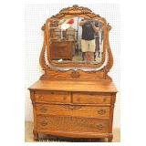 ANTIQUE FANCY Oak Dresser with Beveled Mirror  Auction Estimate $100-$300 – Located Inside