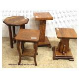Selection of ANTIQUE Golden Oak Plant Stands  Auction Estimate $20-$100 each – Located Inside