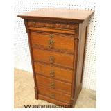 ANTIQUE Oak Cylinder Roll Cabinet  Auction Estimate $100-$300 – Located Inside