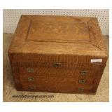 ANTIQUE Quartersawn Oak Silver Flatware Box  Auction Estimate $100-$300 – Located Inside