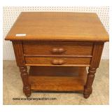 ANTIQUE Oak 2 Drawer Bedside Stand  Auction Estimate $100-$200 – Located Inside