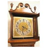ANTIQUE American Golden Oak Grandfather Clock with Art Nouveau Leaded Glass Front  With Weights and