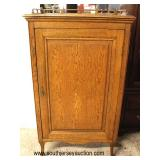 ANTIQUE Oak 1 Door Sheet Music Cabinet with Gallery  Auction Estimate $100-$300 – Located Inside