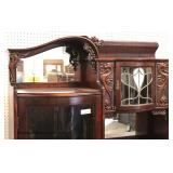 AWESOME ANTIQUE Burl Mahogany Leaded Glass Secretary Bookcase (Side by Side) with Dragons and Griff
