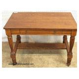 ANTIQUE Oak 1 Drawer Library Table  Auction Estimate $100-$200 – Located Inside