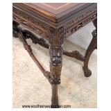 BEAUTIFUL ANTIQUE Walnut and Banded Highly Carved with Griffins Flip Top Extension Sofa Table  Auct